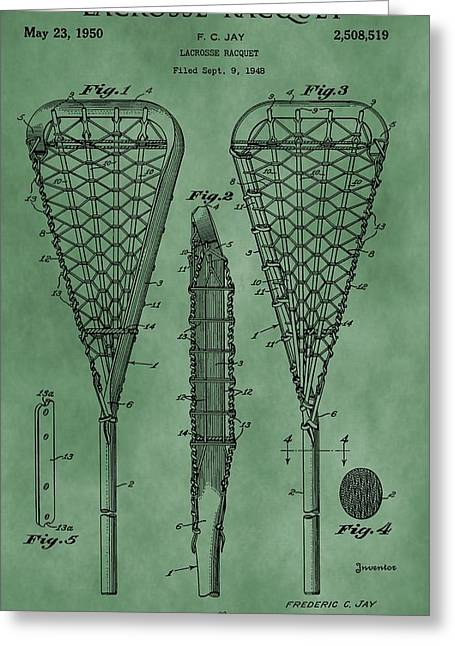 Lacrosse Racquet Patent Green Greeting Card by Dan Sproul