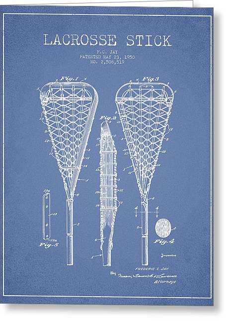 Lacrosse Stick Patent From 1950- Light Blue Greeting Card by Aged Pixel
