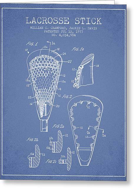 Lacrosse Stick Patent From 1977 -  Light Blue Greeting Card