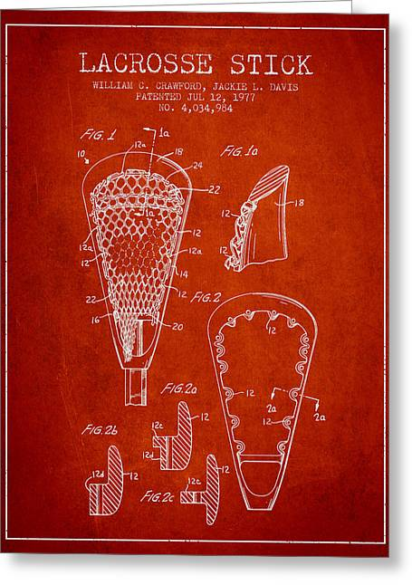 Lacrosse Stick Patent From 1977 -  Red Greeting Card by Aged Pixel