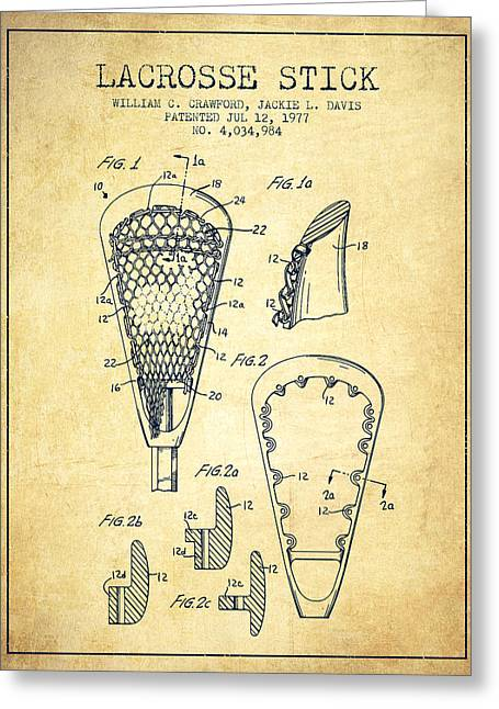 Lacrosse Stick Patent From 1977 -  Vintage Greeting Card