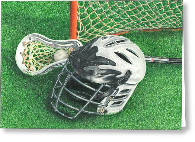 Greeting Card featuring the drawing Lacrosse by Troy Levesque