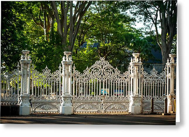 Lacy Gates And Fence Of The Pamplemousse Botanical Garden. Mauritius Greeting Card