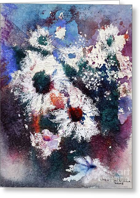 Greeting Card featuring the painting Lacy Petals by Joan Hartenstein