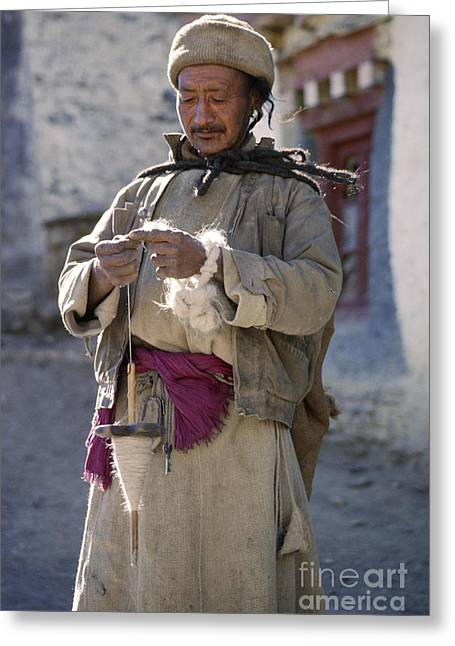Ladakhi Man With Drop Spindle Greeting Card by Craig Lovell