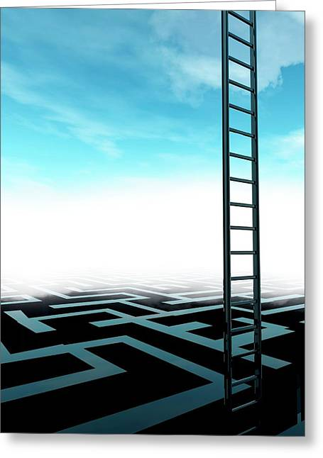 Ladder And Maze Greeting Card by Victor Habbick Visions/science Photo Library