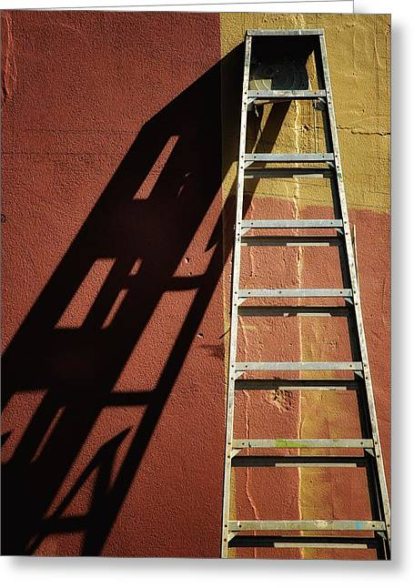Ladder And Shadow On The Wall Greeting Card