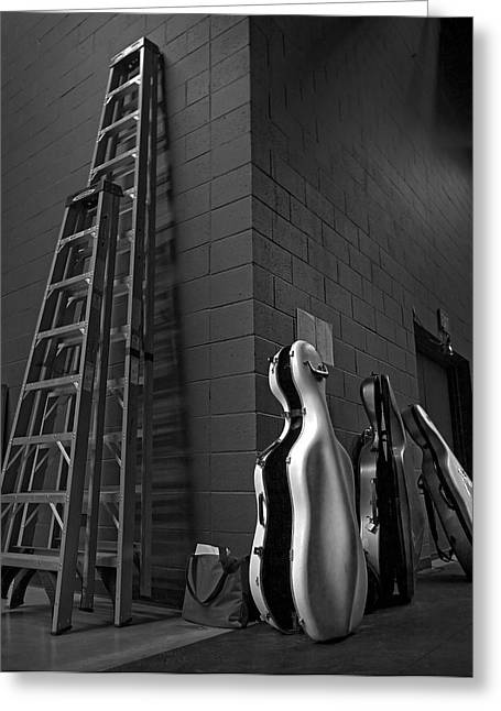 Ladders And Cello Cases Greeting Card by Adrian Mendoza