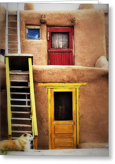 Ladders Doors And The Dog Greeting Card