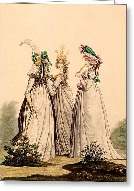 Ladies In Day Wear - Modes Anglaises Greeting Card by French School