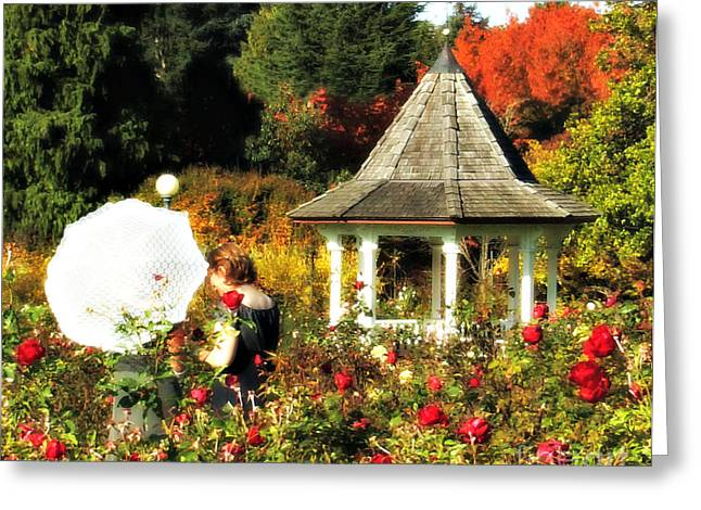 Ladies In Rose Garden Greeting Card