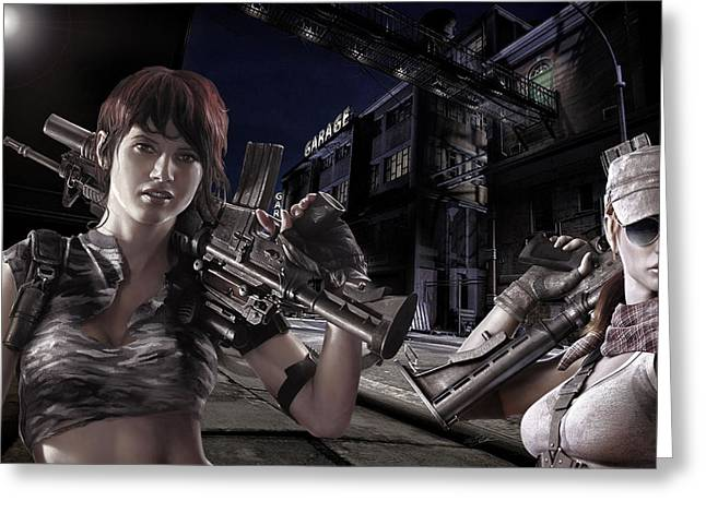 Ladies Night Armed And Dangerous Greeting Card by Peter Chilelli