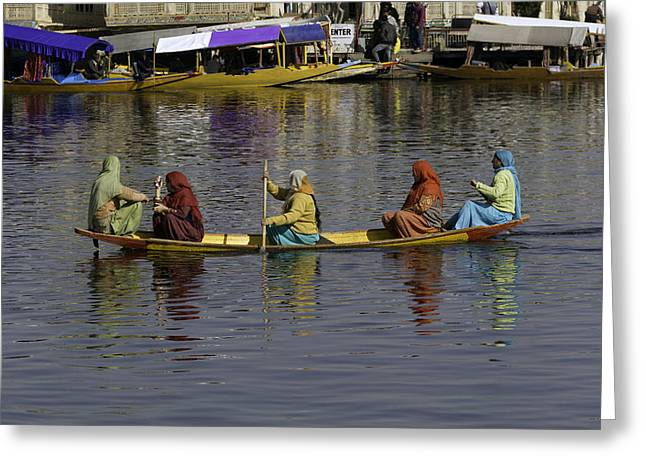 Ladies On A Wooden Boat On The Dal Lake Greeting Card by Ashish Agarwal