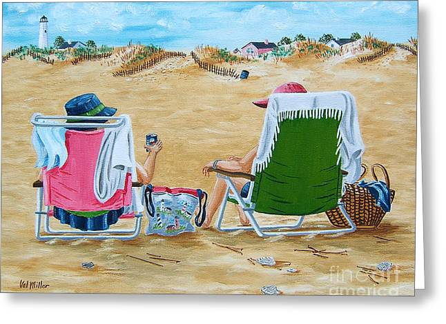 Greeting Card featuring the painting Ladies On The Beach by Val Miller