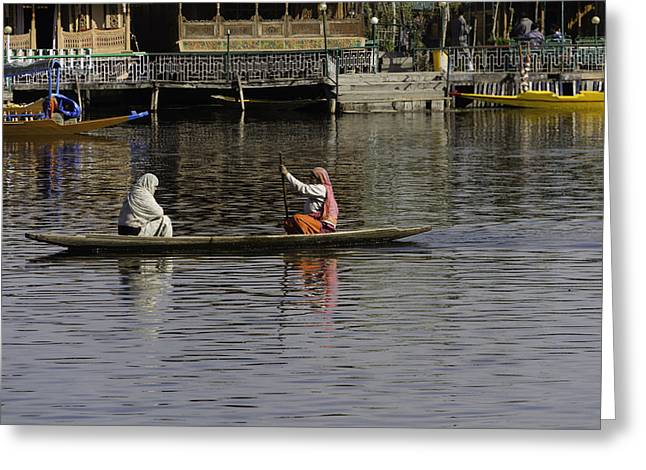 Ladies Plying A Small Boat In The Dal Lake In Srinagar - In Fron Greeting Card by Ashish Agarwal