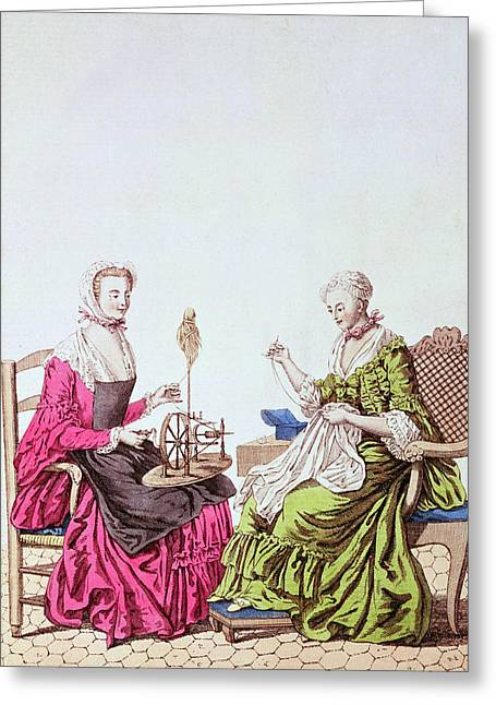Ladies Spinning And Sewing, C.1765 Colour Engraving Greeting Card