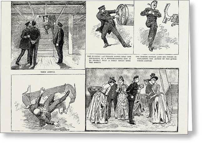 Ladies Visit To An Ironclad, 1889 Their Arrival Greeting Card by Litz Collection