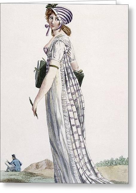 Ladies Walking Dress, Illustration Greeting Card by Pierre de La Mesangere