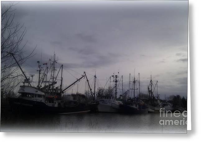 Ladner Harbour In Winter Greeting Card by Victoria Heryet