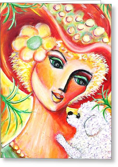 Greeting Card featuring the painting Lady And Bijon by Anya Heller