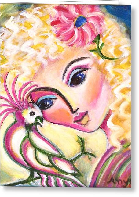 Greeting Card featuring the painting Lady And Cockatiel by Anya Heller