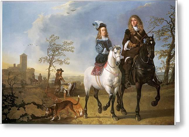 Lady And Gentleman On Horseback Greeting Card by Aelbert Cuyp