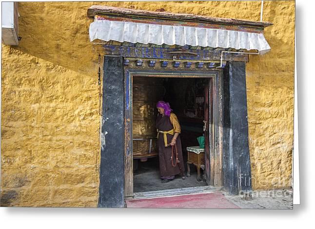 Lady And Prayer Wheel  Greeting Card