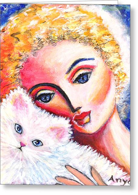 Greeting Card featuring the painting Lady And White Persian Cat by Anya Heller