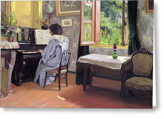 Lady At The Piano Greeting Card by Felix Edouard Vallotton