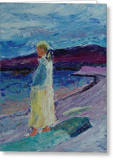 Lady At The Sea Shore Greeting Card