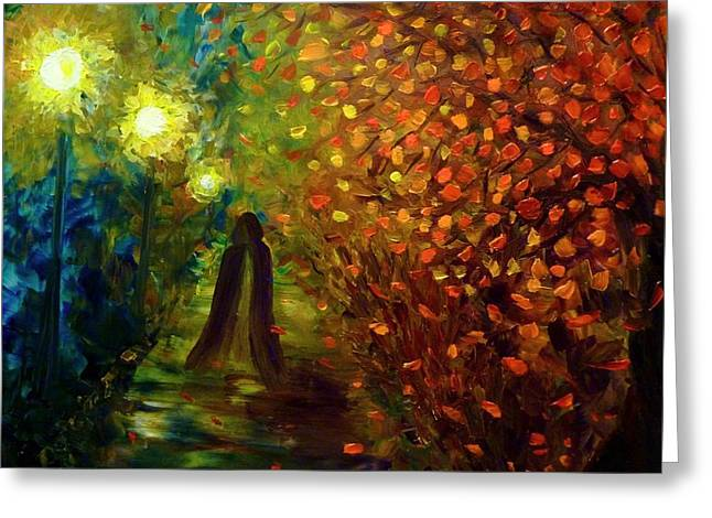 Greeting Card featuring the painting Lady Autumn by Lilia D