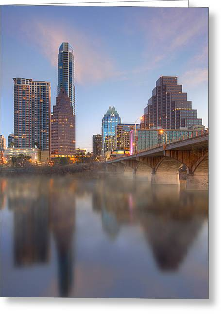 Lady Bird Lake Fog And The Austin Skyline 1 Greeting Card by Rob Greebon