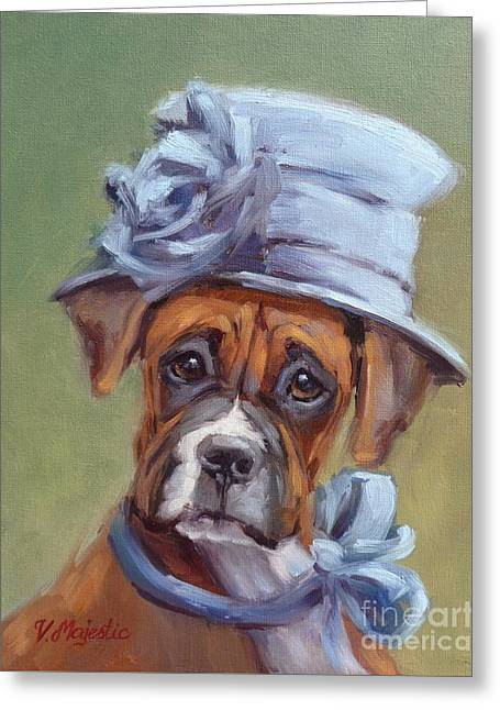 Lady Boxer With Blue Hat Greeting Card