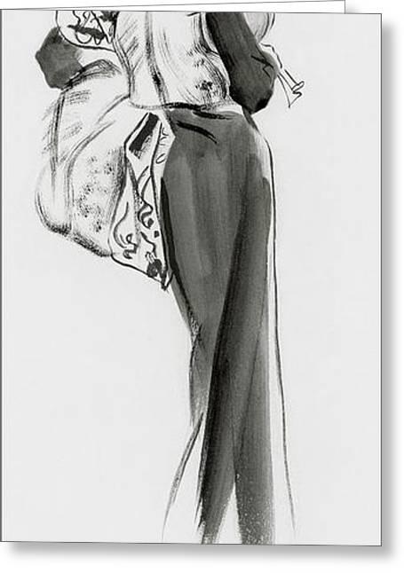 Lady Castlerosse Wearing Molyneux Greeting Card by Ren? Bou?t-Willaumez