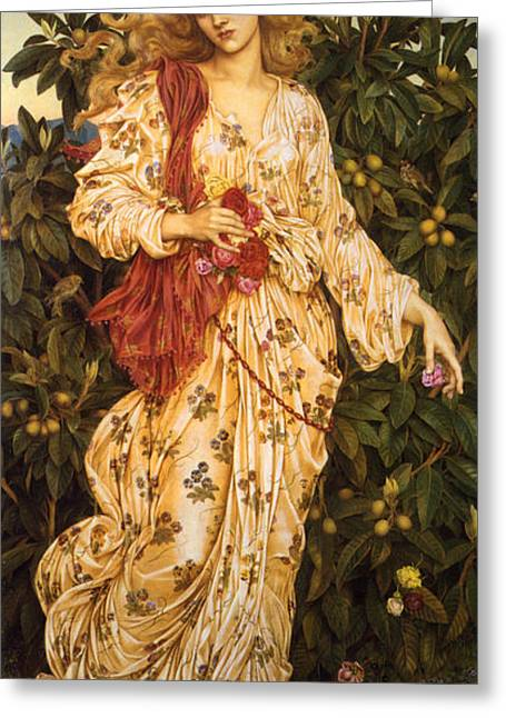 Lady Flora Goddess Of Blossoms And Flowers Greeting Card