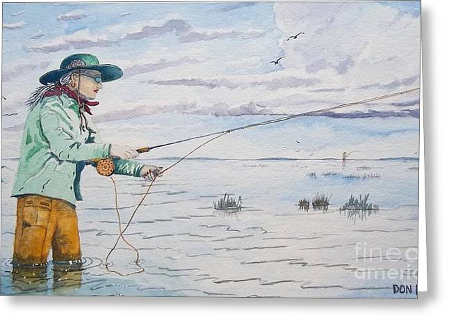 Lady Fly Fishing Greeting Card by Don Hand