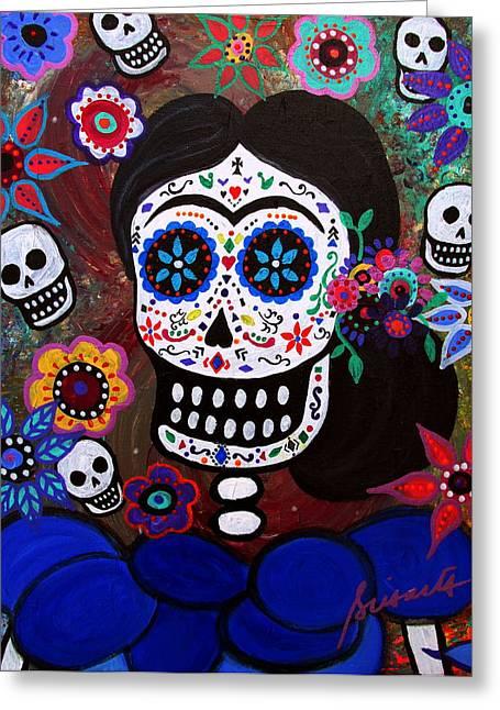 Lady Frida In Blue Greeting Card by Pristine Cartera Turkus
