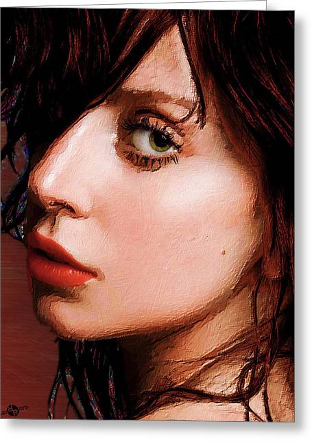 Lady Gaga Close Up Greeting Card by Tony Rubino