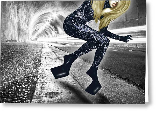 Lady Gaga In City Tunnel Greeting Card by Tony Rubino