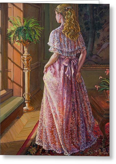 Lady Gazing Through The Window Greeting Card by Dominique Amendola