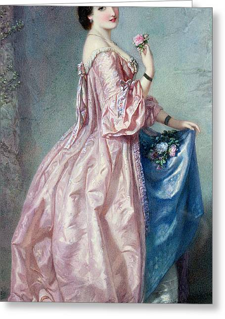 Lady Holding Flowers In Her Petticoat Greeting Card by Augustus Jules Bouvier