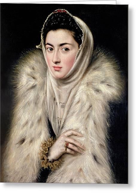 Lady In A Fur Wrap Greeting Card by Domenico El Greco