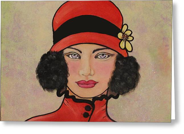 Lady In A Red Hat Greeting Card