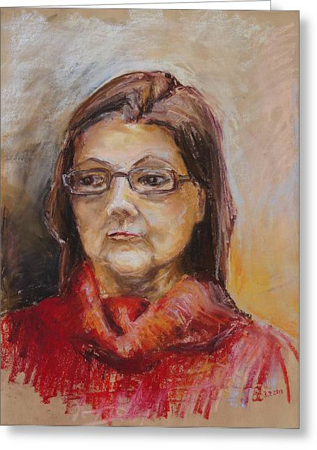 Lady In A Red Pullover Greeting Card by Barbara Pommerenke