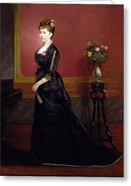 Lady In Black Greeting Card by Edouard Ender
