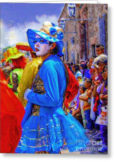 Lady In Blue Greeting Card by John  Kolenberg