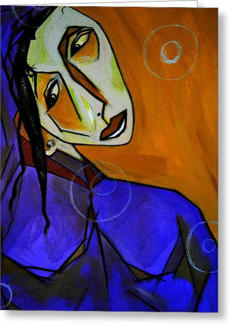 Lady In Blue Greeting Card by Robert Daniels