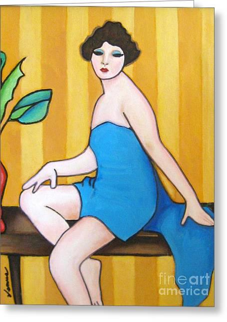 Lady In Blue Greeting Card by Venus