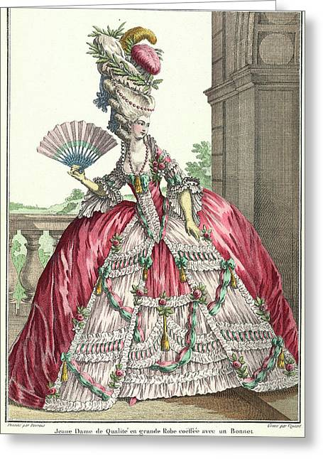 Lady In Formal Dress Greeting Card by British Library