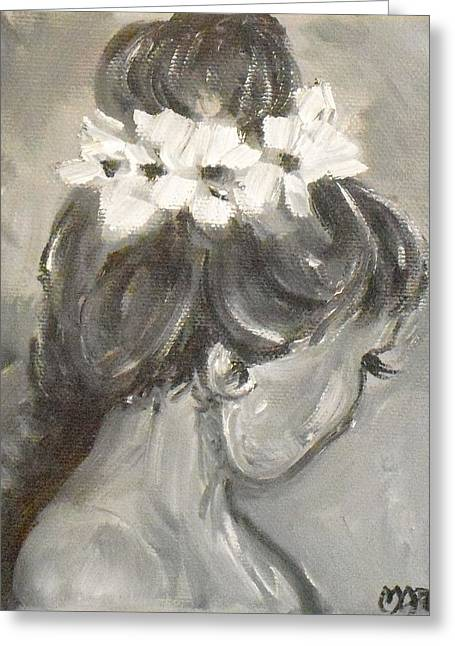 Lady In Grey Greeting Card by Melissa Torres